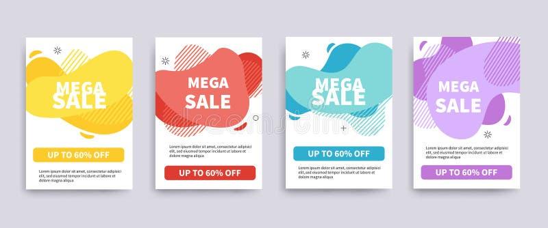 Sale baner eller reklambladmall Mega design för försäljningserbjudandebaner royaltyfri illustrationer