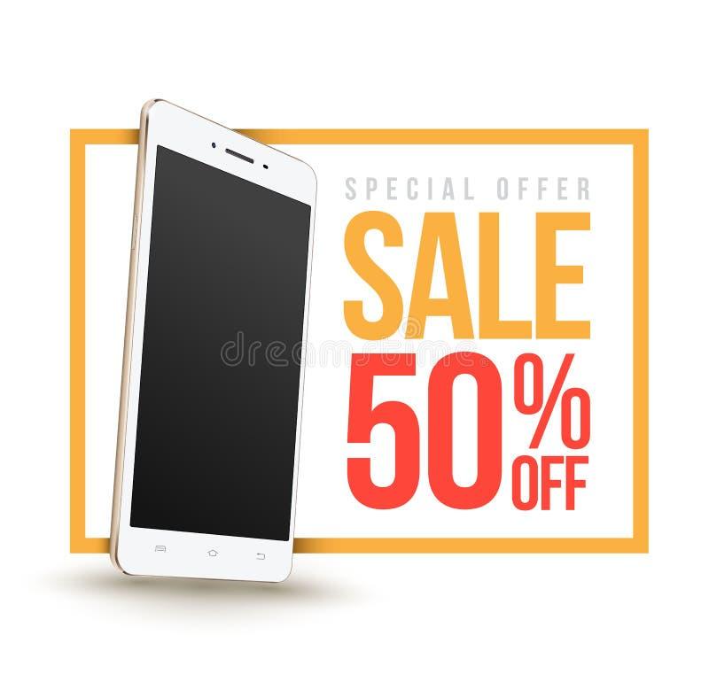 Sale baner med den Smartphone rabatten femtio procent royaltyfri illustrationer