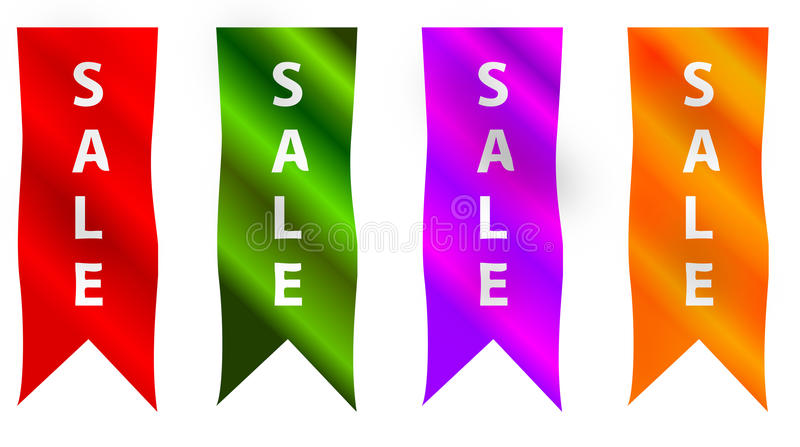Four vertical sale ribbons or banners stock illustration