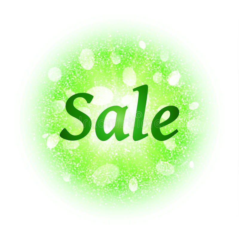 Sale banner on abstract explosion background with green glittering elements. stock illustration