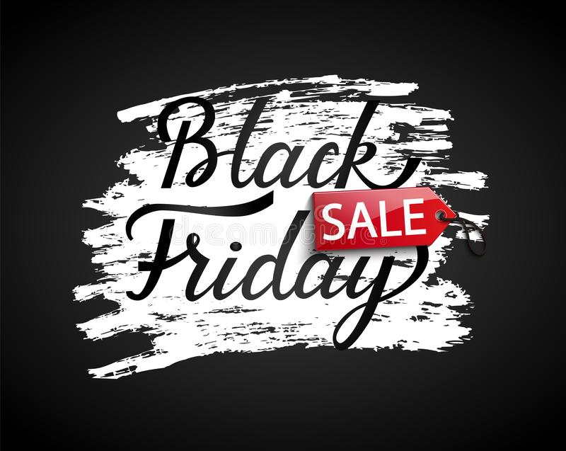 Sale banner for black friday. Black friday Sale banner on black background. Perfect template for flyers, discount cards, web, posters, ad, promotions, blogs and stock illustration