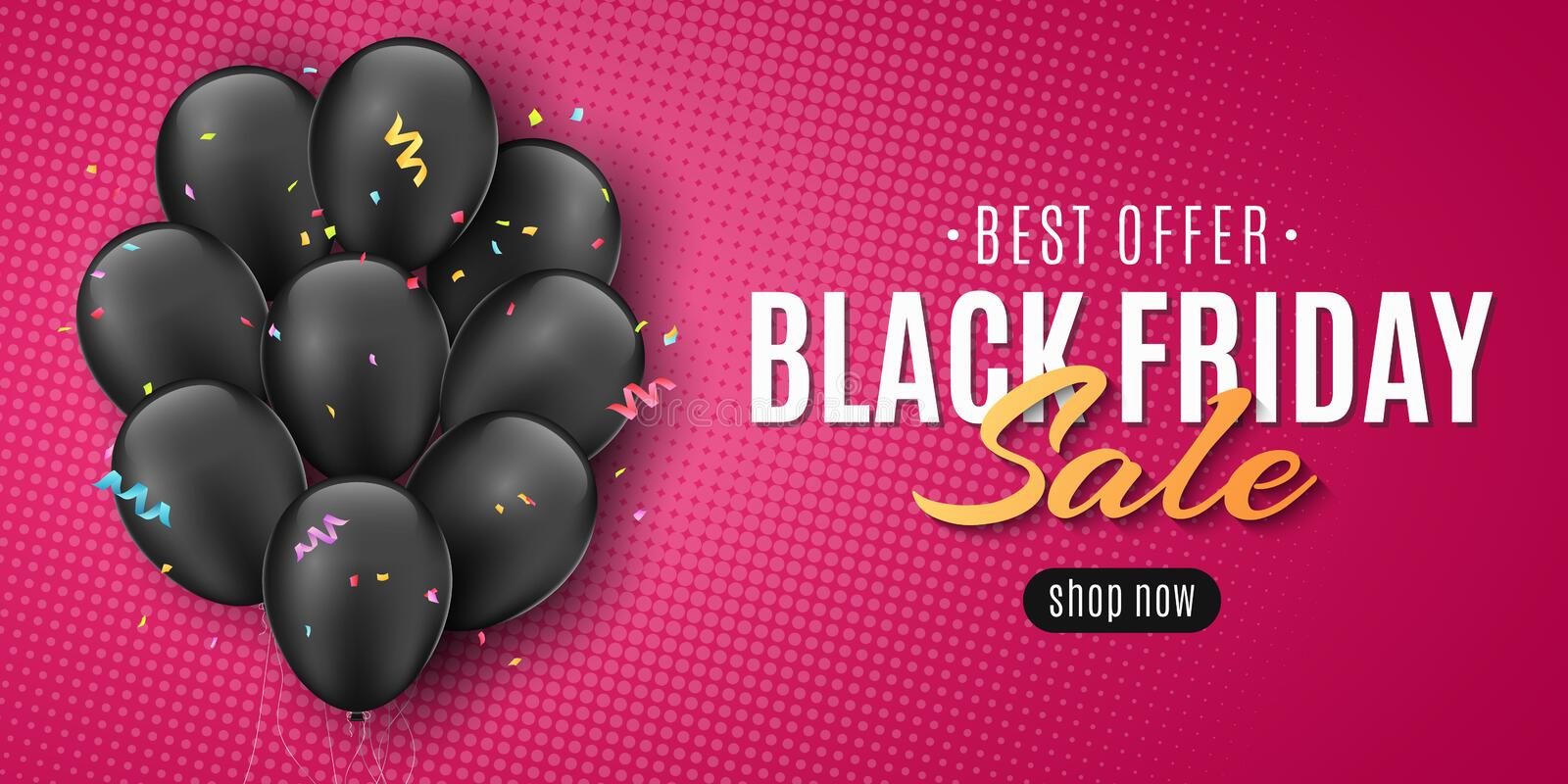 Sale banner for Black Friday. Flying confetti and serpentine. Flying black balloons. Lettering in frame. Pink background and. Halftone effect. Seasonal shopping royalty free illustration