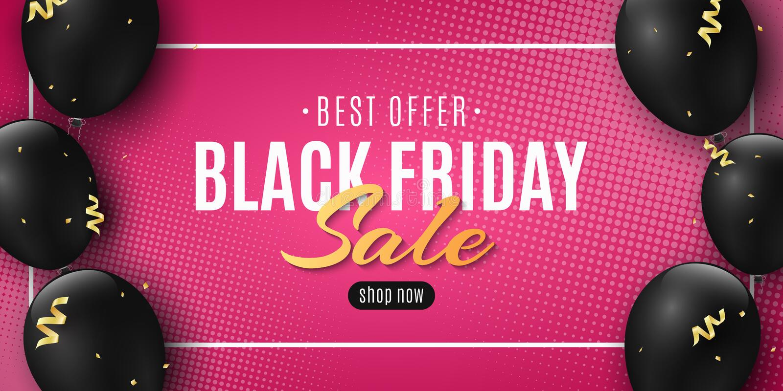 Sale banner for Black Friday. Golden confetti and serpentine. Flying black balloons. Beautiful lettering. Pink background and. Halftone effect. Seasonal vector illustration