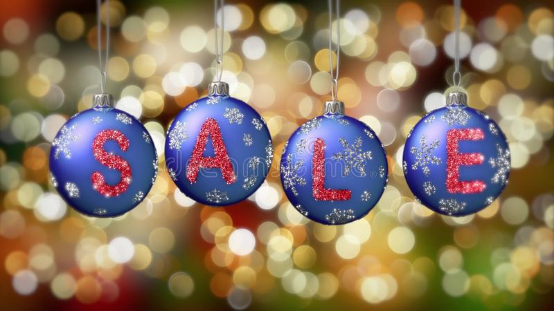 Sale banner on blue Christmas balls with round snow flake on gold bokeh background. royalty free stock photo