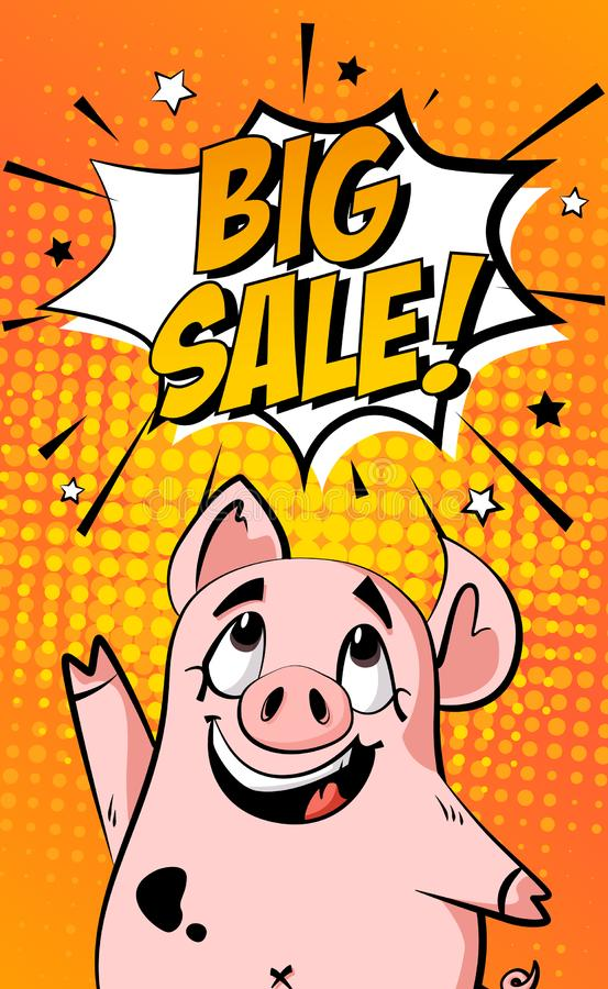 Sale banner with cartoon pig and text cloud on orange background. Holiday card in comics style. Vector stock illustration