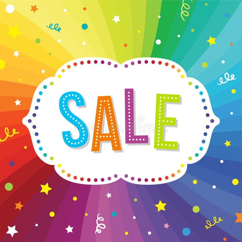 SALE banner. Colorful illustration for advertising and special offers. Text template on the rainbow background. royalty free illustration