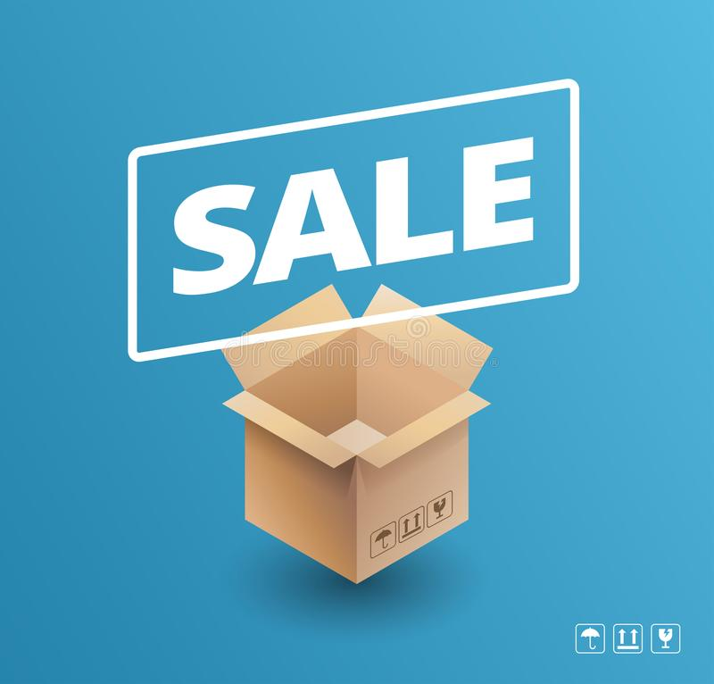 Sale banner delivery cardboard box icon sale vector illustration. On blue background - fragile, keep up arrows, umbrella icon included royalty free illustration