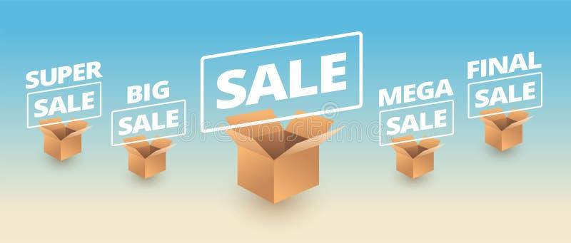 Sale banner delivery cardboard boxes icon sale vector illustration. Super, big, mega, final sale royalty free illustration