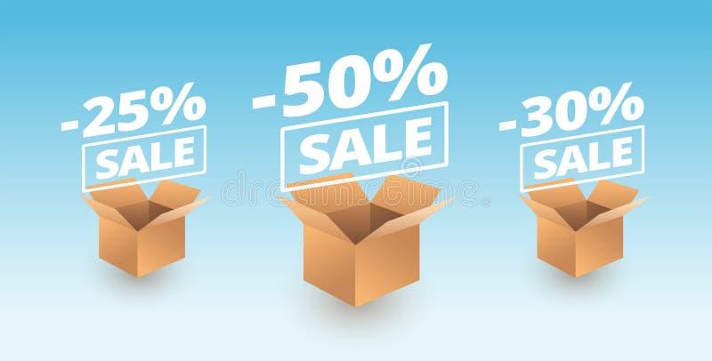 Sale banner delivery cardboard boxes icons - discount sale vector illustration. Sale banner delivery cardboard boxes icons - 25% off discount sale, 50% off, 30% vector illustration