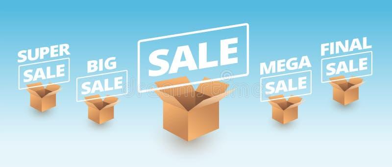 Sale banner delivery cardboard boxes icons - super sale, big, me. Ga, final sale text vector illustration royalty free illustration