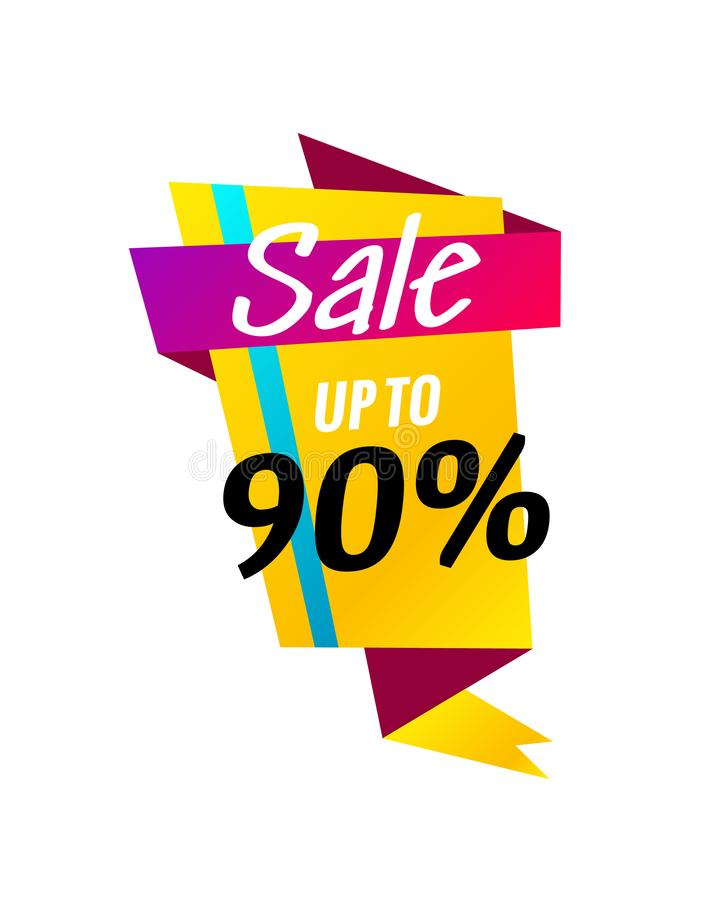 Sale banner design template. Flat origami speech bubble special offer discount vector illustration. royalty free illustration