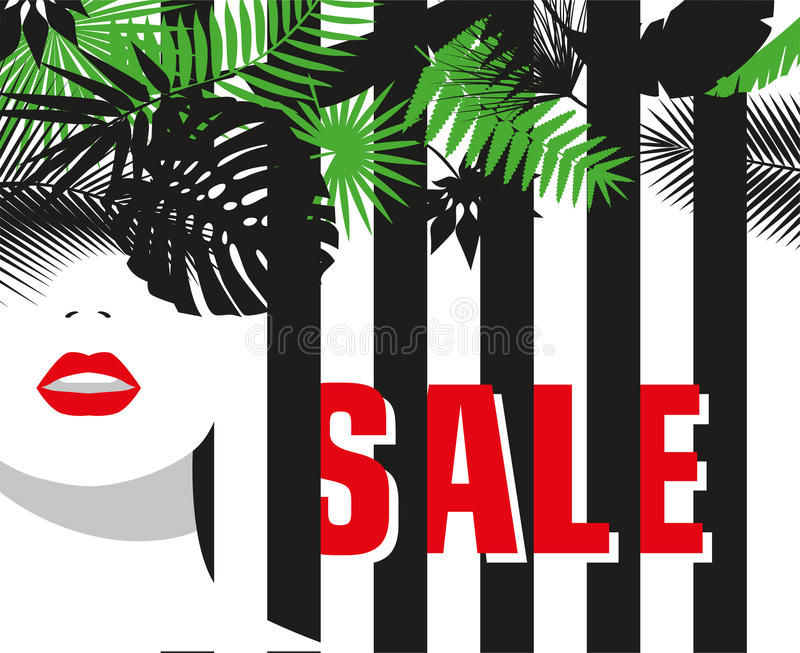 Sale. Banner. Fashion girl. Tropical leaves. Bold, minimal style. Pop Art. OpArt, positive negative space and colour. Vector illustration - stock vector royalty free illustration