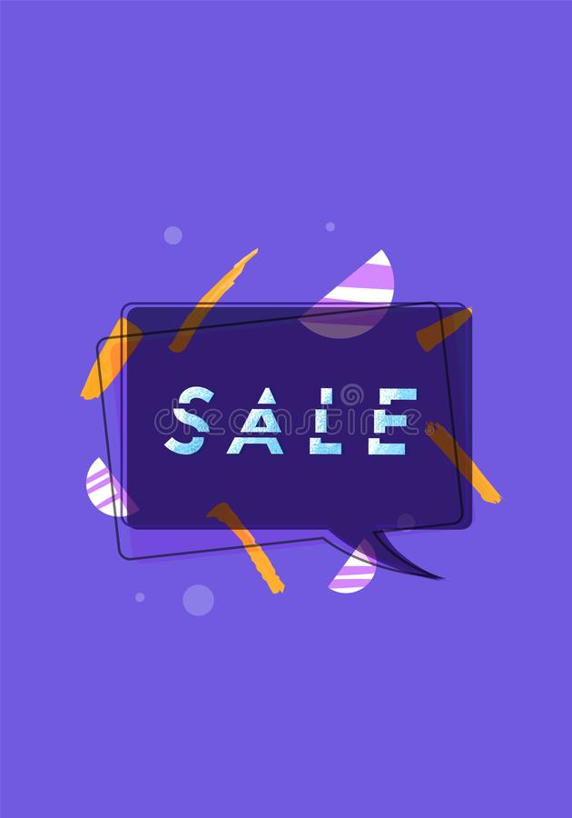 Sale banner with geometric abstract composition. Vector illustration. Sale banner with geometric abstract composition. Promotion card with sliced trendy text stock illustration