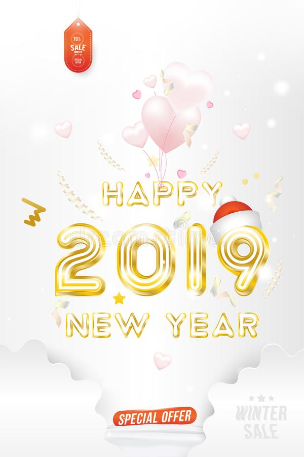 Sale Banner Happy new year 2019 with original gold shining font and super offer 70 Postcard with balloons in the form of vector illustration