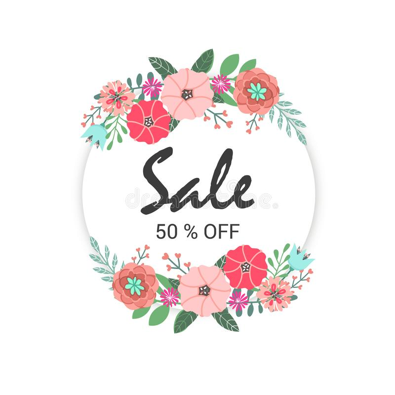 Sale banner modern design offer promotion with flowers royalty free illustration