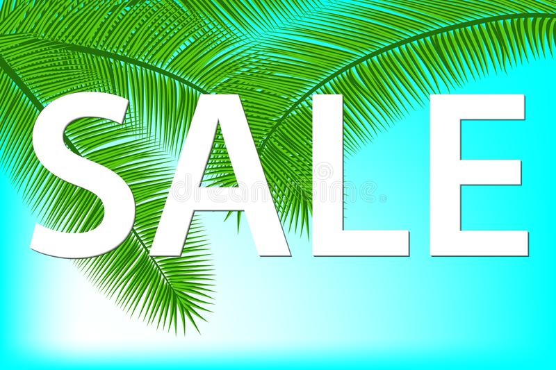 Sale banner with palm leaves. Floral tropical holidays background. Vector illustration. Hot Summer Sales design. Eps 10. royalty free illustration