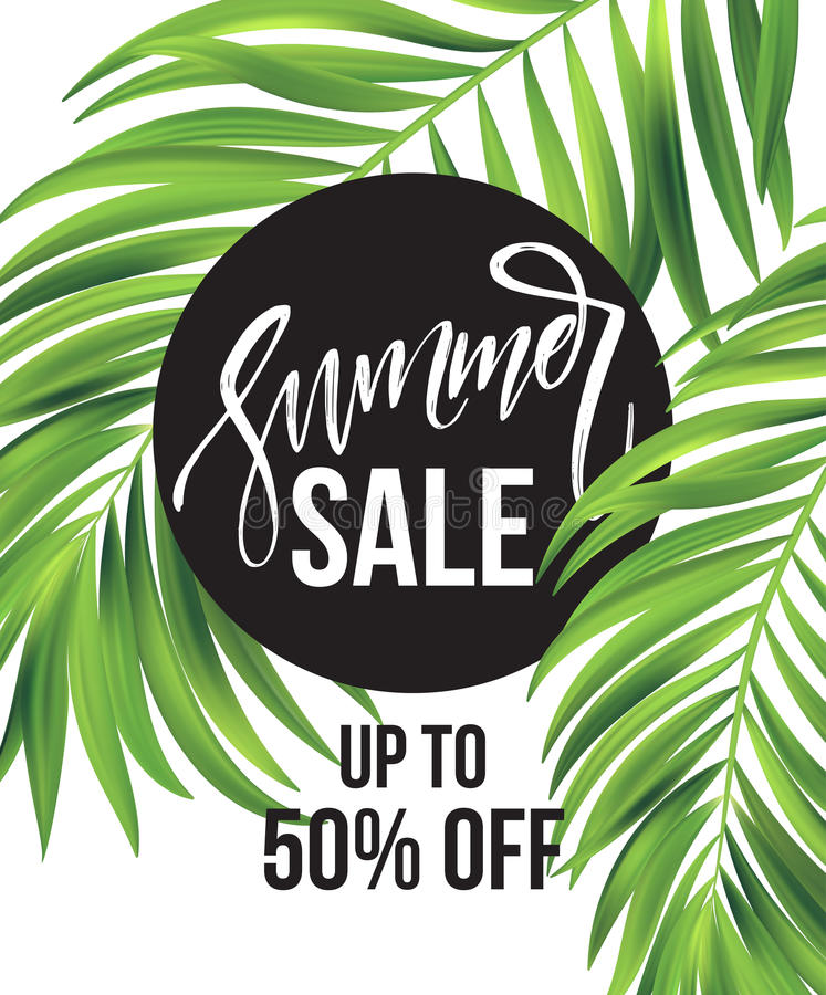 Sale banner, poster with palm leaves, jungle leaf and handwriting lettering. Floral tropical summer background. Vector vector illustration