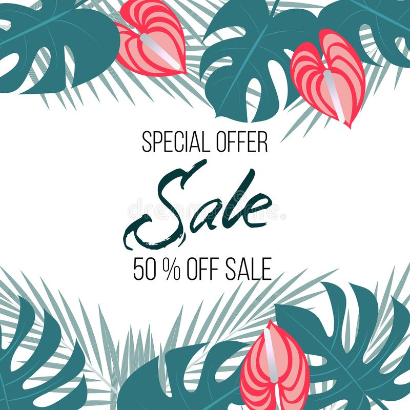 Sale banner, poster with palm leaves, jungle leaf and moister flowers. Beautiful vector floral tropical summer background,. Trendy colors. For web banner, promo vector illustration