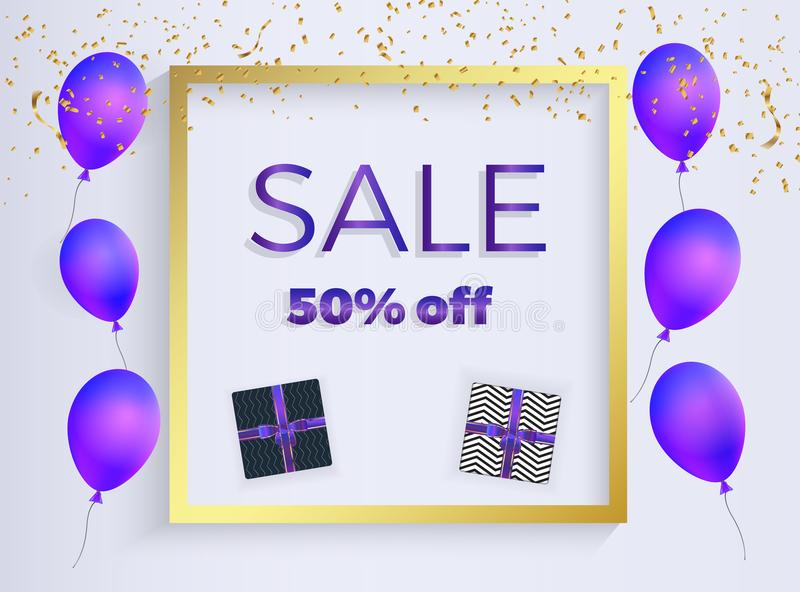 Sale banner with purple shaped balloons, box gift with ribbons, gold confetti. Template for the decoration presentation, placards, vector illustration