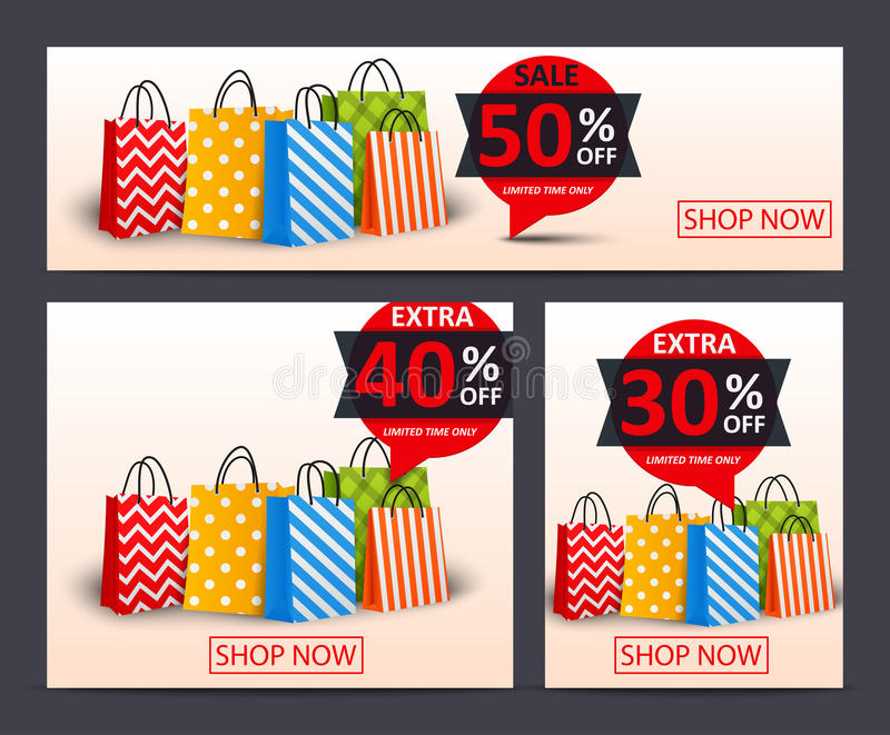 Sale banner with shopping bags royalty free illustration