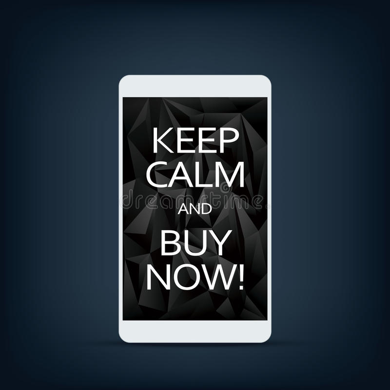 Sale banner on smartphone screen with motivational poster text download sale banner on smartphone screen with motivational poster text keep calm and buy now voltagebd Image collections