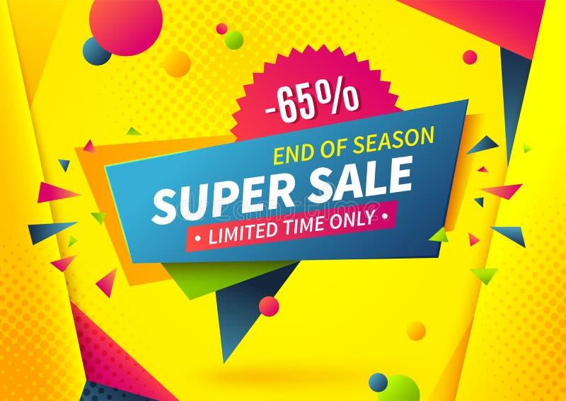 Sale banner. Special offer logo, weekend promotion label design template, super deal sale tag. Vector summer sale shop stock illustration