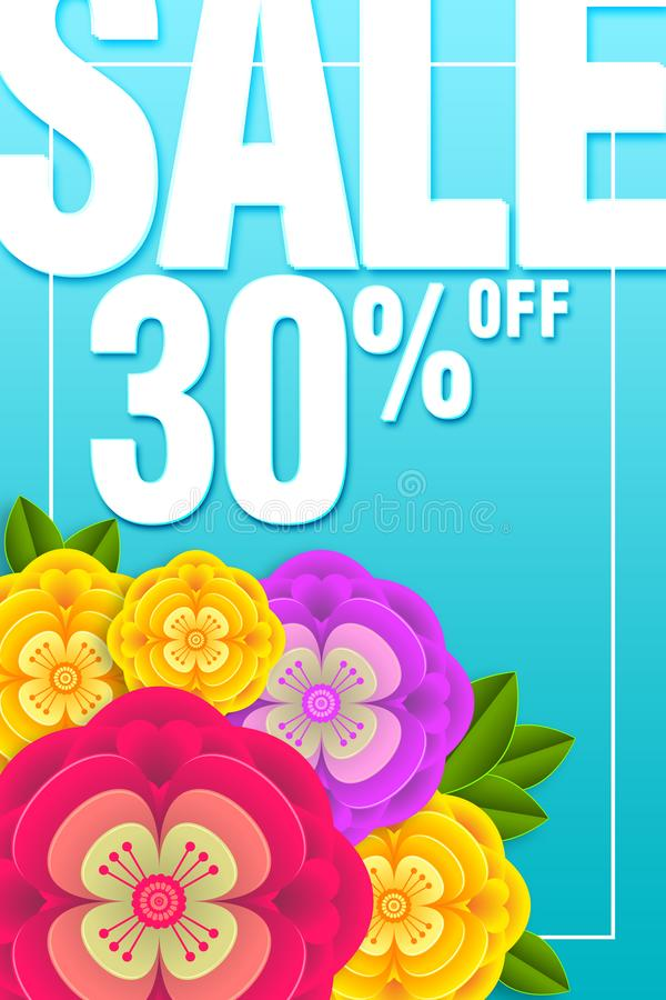 Sale Banner Special offer 30% Off Background with beautiful flower  illustration template stock photography