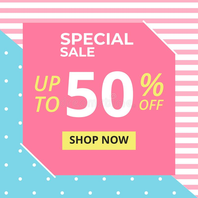 Sale banner in square frame with special sale up to 50 % off preset text on stripes pink and blue pastel background royalty free illustration
