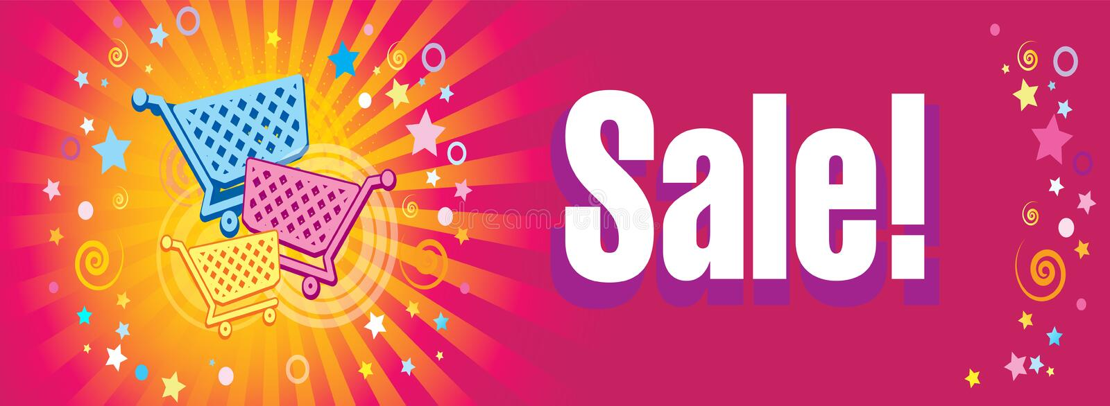 Sale banner. Supermarket trolleys on the decorative background with rays, stars and confetti. vector illustration