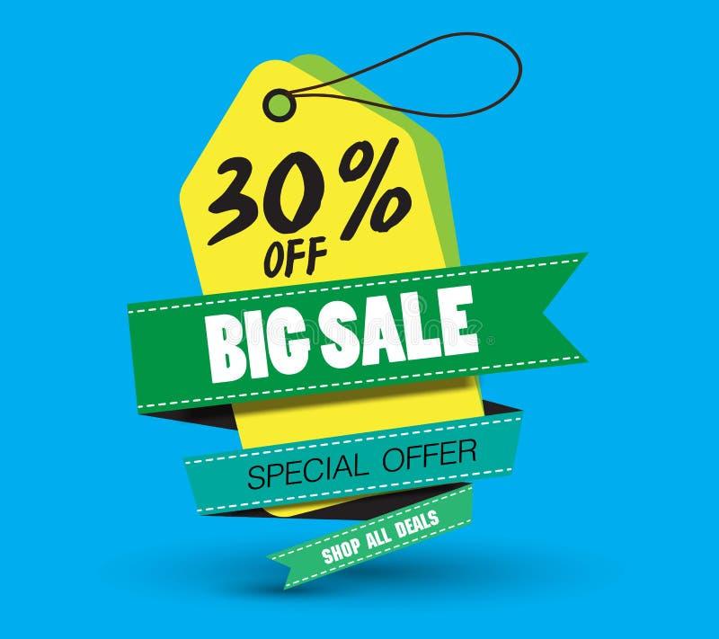 Sale banner template design, 30% big sale special discount offer. end of season special offer banner. vector illustration stock illustration