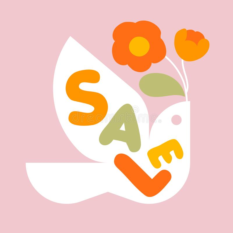 Sale banner template design with multicolored letters and flying bird with flowers vector illustration
