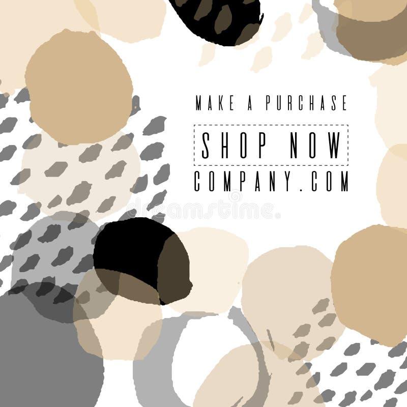 Sale banner template design. For online store, site. Vector illustration. Color brush, versatility, neutral. royalty free illustration