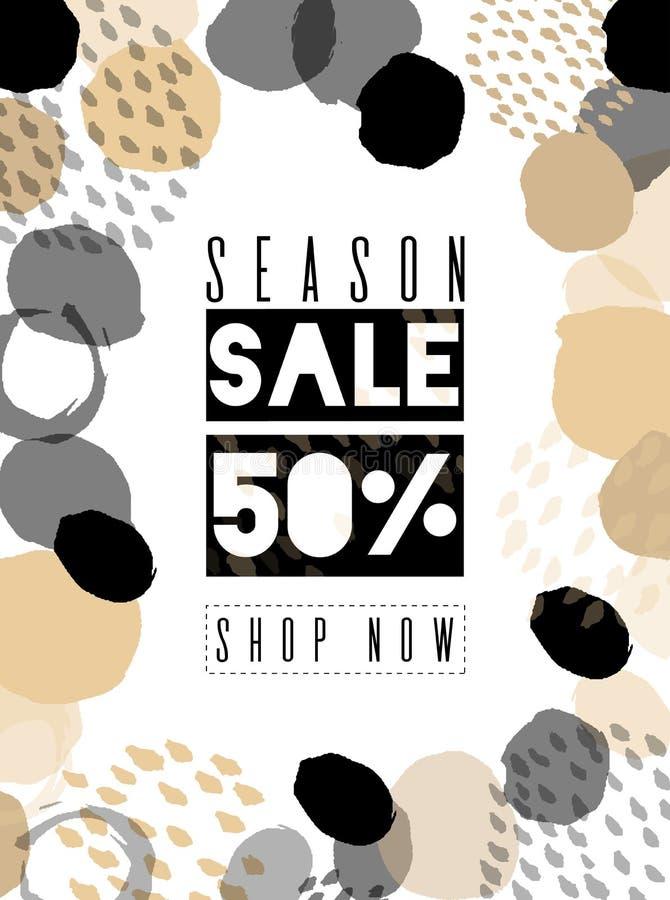 Sale banner template design. For online store, site. Vector illustration. Color brush, versatility, neutral. stock illustration