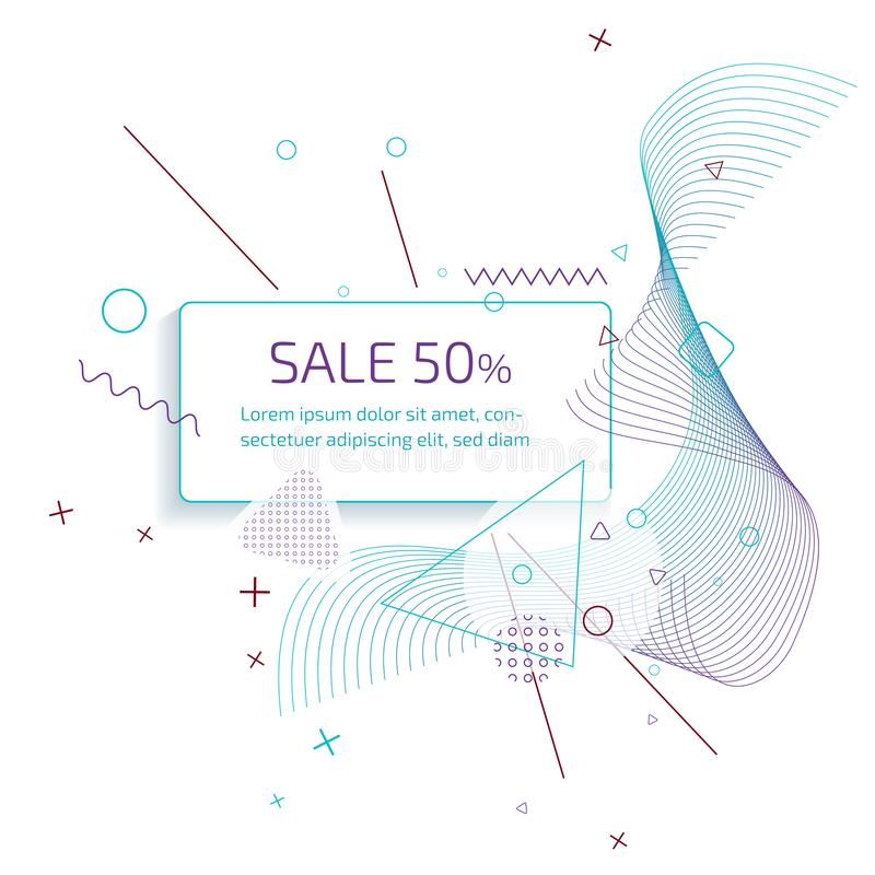 Sale banner template design with trendy geometric vector pattern. royalty free stock image