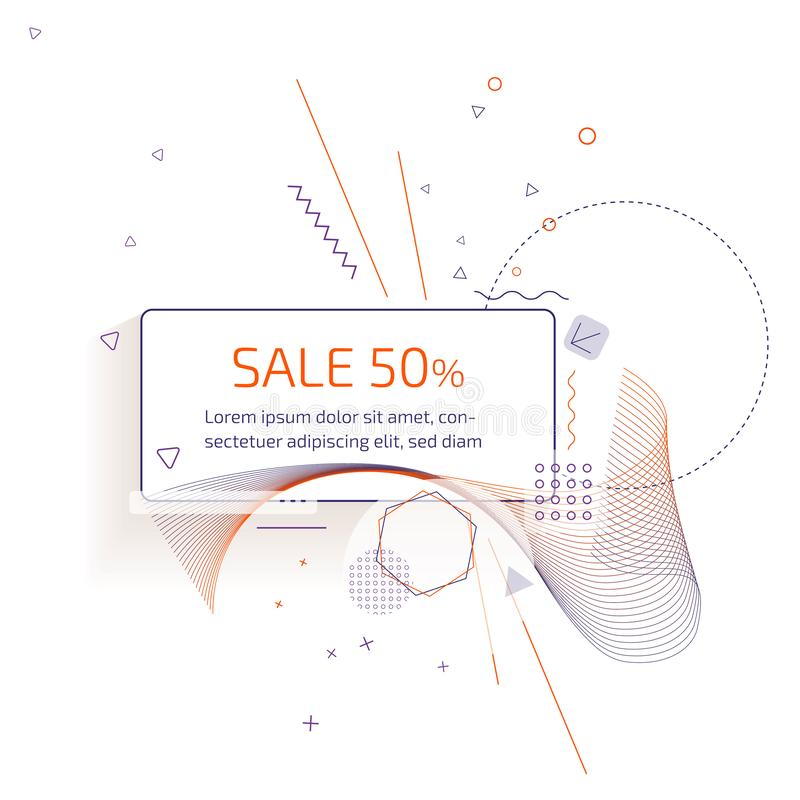 Sale banner template design with trendy geometric vector pattern. royalty free stock photography