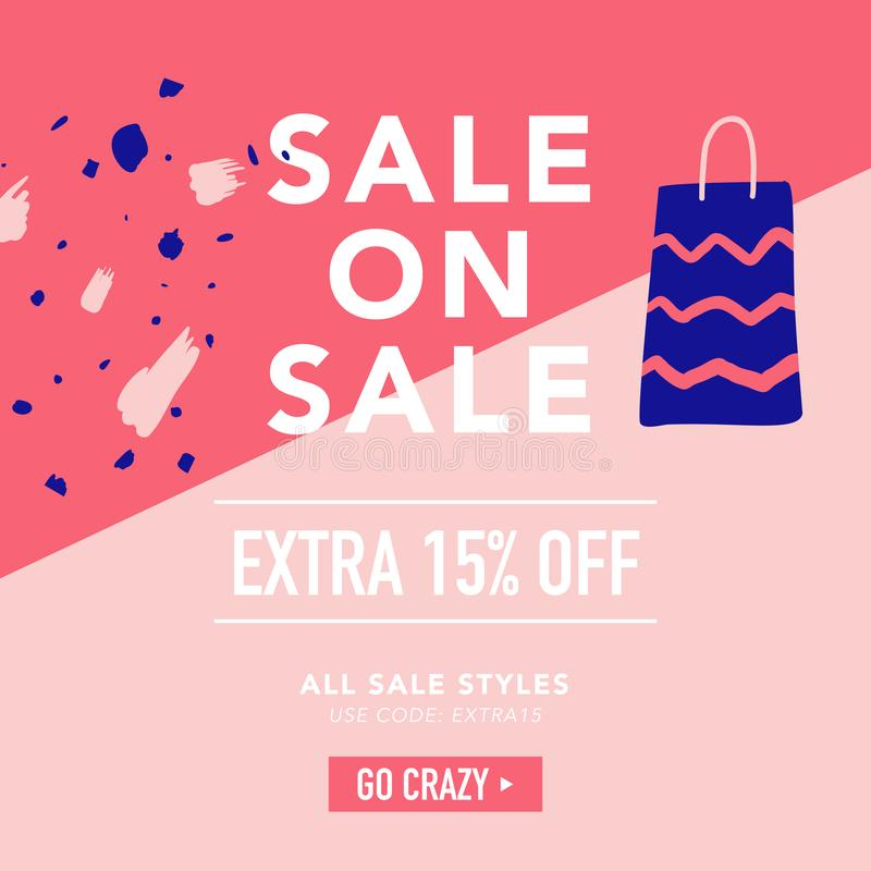 Sale Banner Template. Discount Poster, Promo Web Design with Gifts. Promotional Fashion Background for Placard, Flyer. Advertisement. Vector illustration royalty free illustration
