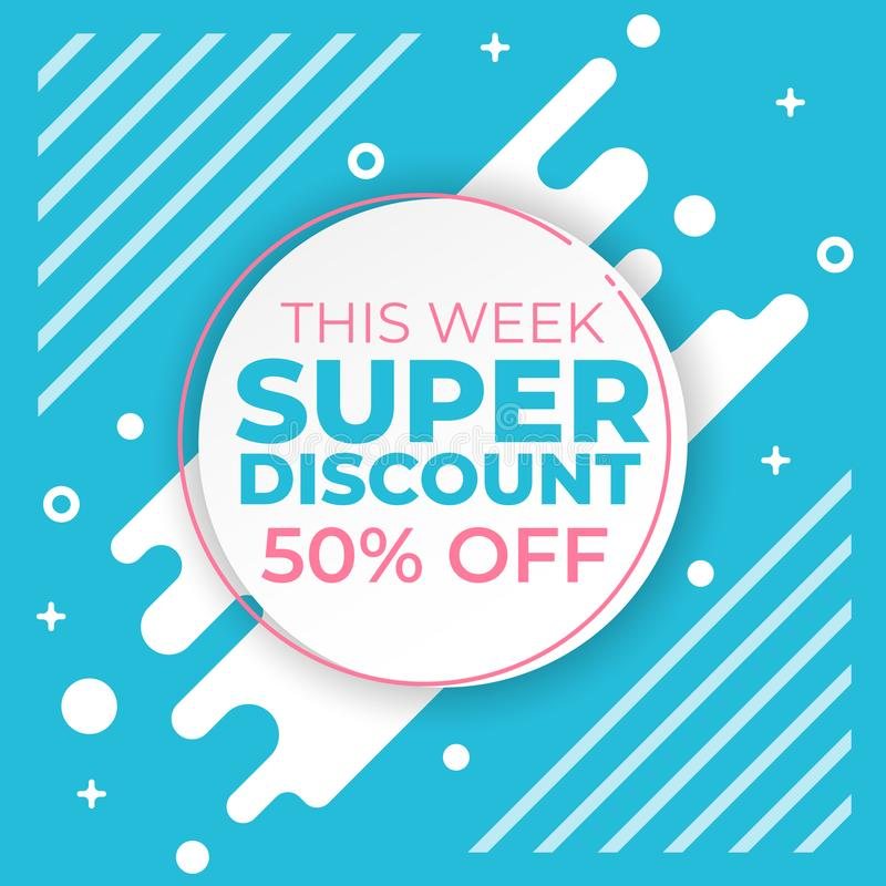Sale banner template with super discount 50 percent off preset text on circle shape and liquid white blue background. Banner royalty free illustration