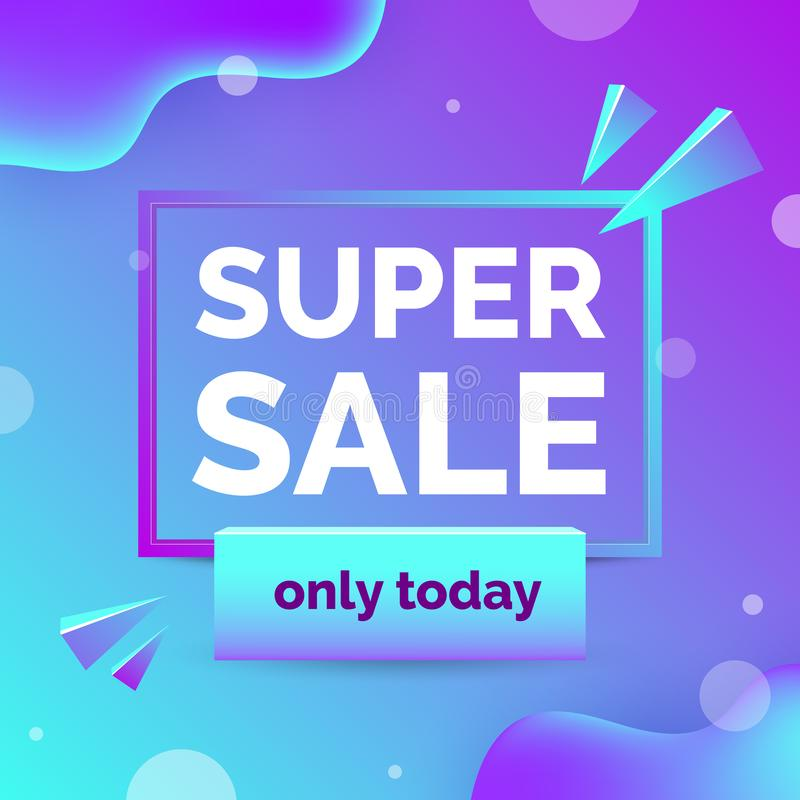 Sale banner with text space, abstract elements, waves, blue and purple gradient color. vector illustration