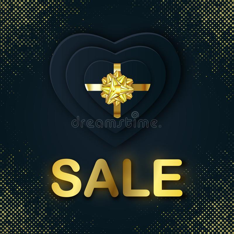 SALE banner to Valentines Day holiday with a lettering, paper Gift Box Heart shaped. Gold Bow on golden black halftone vector illustration
