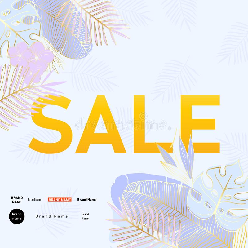 Sale banner with tropical palm leaves and flowers. Abstract background of jungle summer plants for advertising and marketing in stock illustration