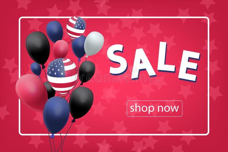 Sale banner with US Patriotic balloons on red background for the Fourth of July. Memorial Day. Martin Luther King Day. Country National Colors royalty free illustration