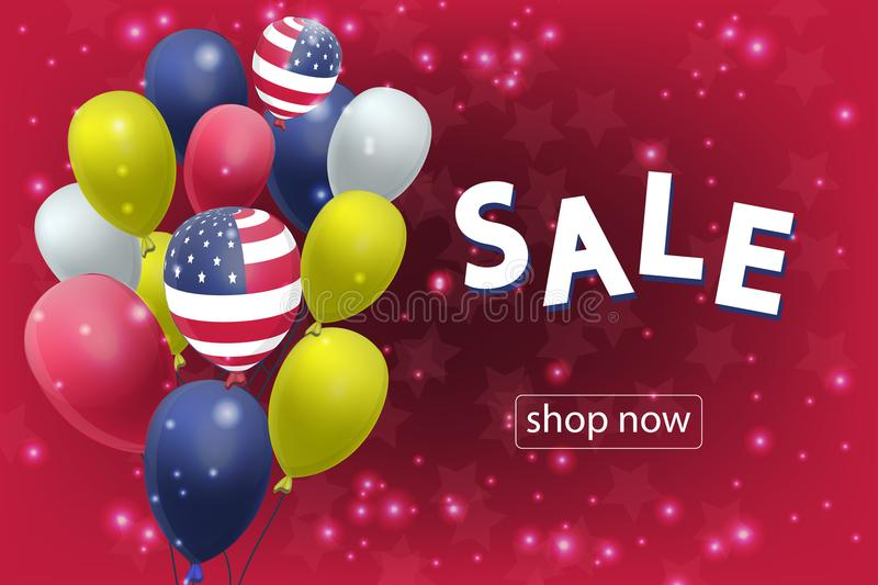 Sale banner with US Patriotic balloons on red background for the Fourth of July. Memorial Day. Martin Luther King Day. Country National Colors stock illustration