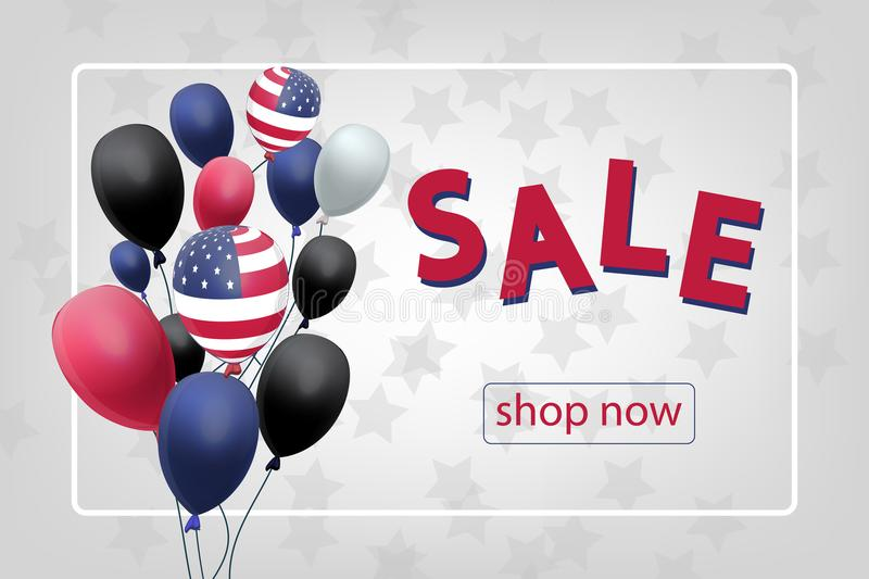 Sale banner with US Patriotic balloons on white background for the Fourth of July. Memorial Day. Martin Luther King Day. Country National Colors royalty free illustration