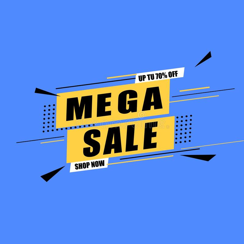 Sale banner vector illustration. Discounts and promotional Mega sale offers design template. Promotional offer web royalty free stock photography