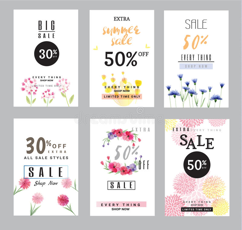 Sale banners collection for social media banners, web design, shopping on-line,posters royalty free illustration