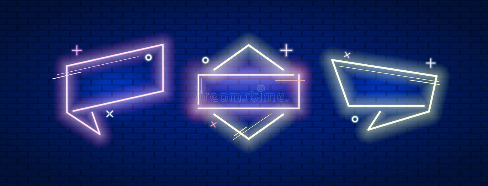 Sale banners frame in neon style with modern graphic elements . Vector illustration design. Sale banners frame in neon style with modern graphic elements stock photography