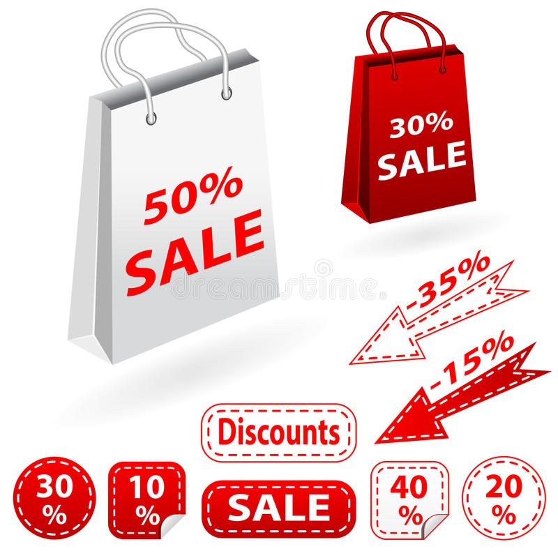 Sale banners set and bags. Shopping. stock image