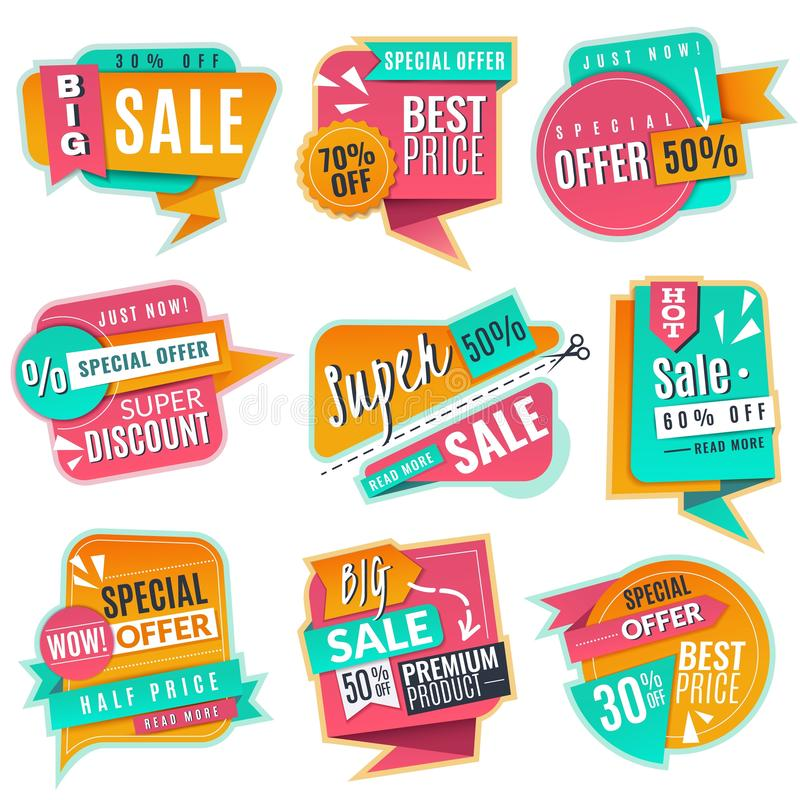 Sale banners set. Promotional discoun signs, advertising offer banner. Origami promotion sales vector tags royalty free illustration