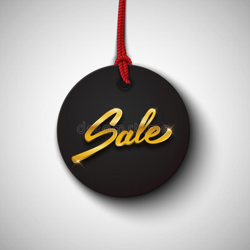 Sale black tag with gold text, round banner, advertising, black stock illustration