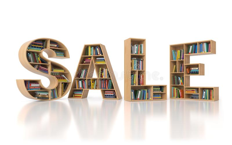 Sale from bookshelf with book in form of letters isolated on white background. Back to school sales concept. vector illustration